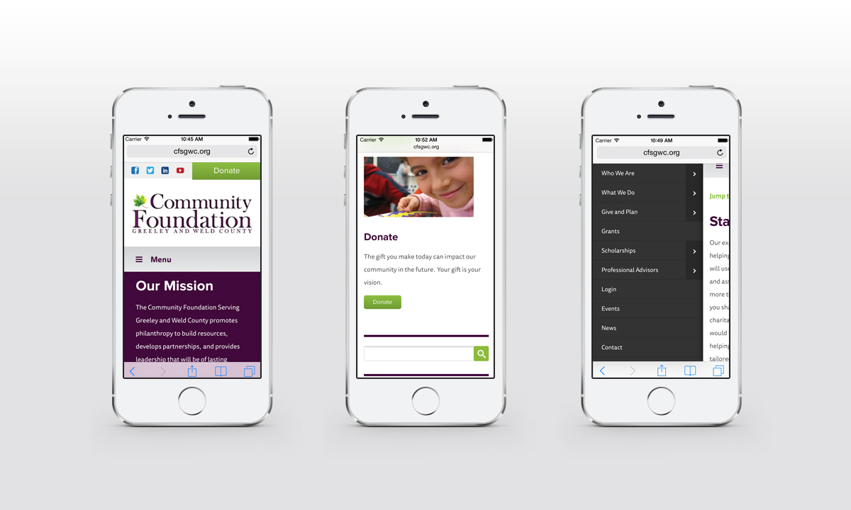 New Mobile Website Screenshots - The Community Foundation Serving Greeley and Weld County