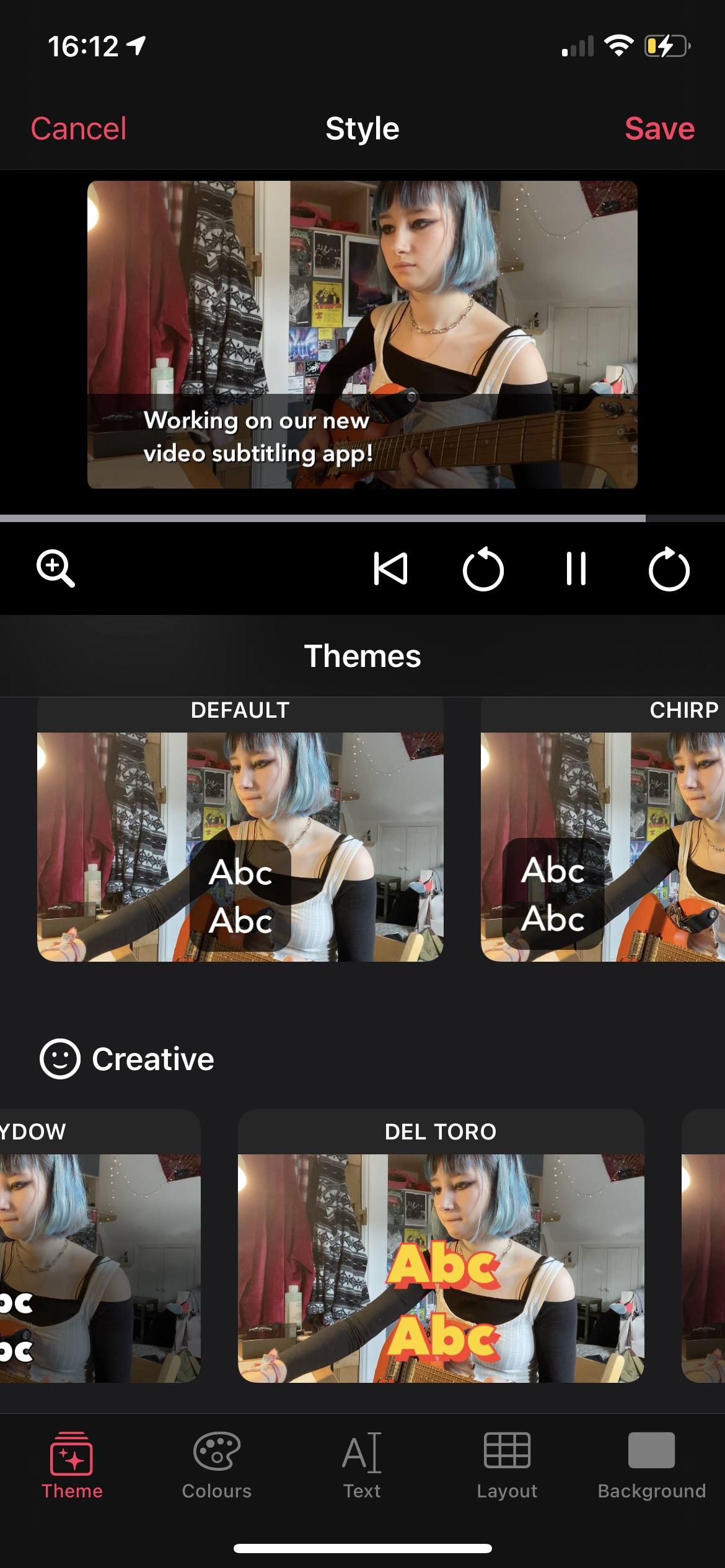 Screenshot of a the new styling UI showing a video and theme thumbnails