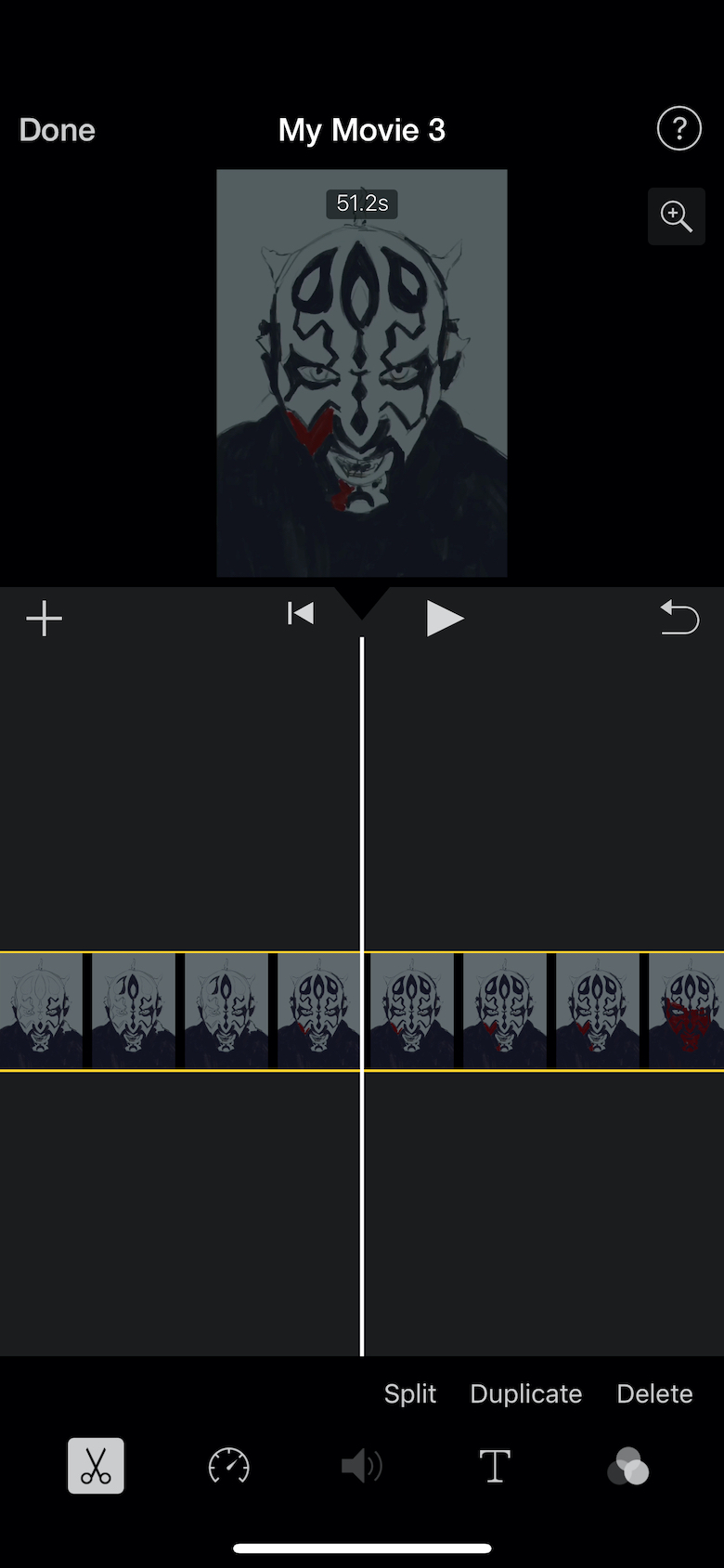 Screenshot of iMovie project with your video in center