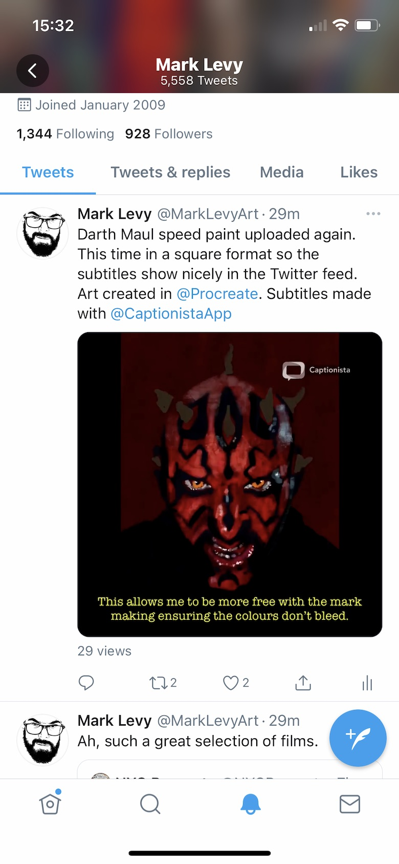 Screenshot of the final exported square video in a Twitter feed