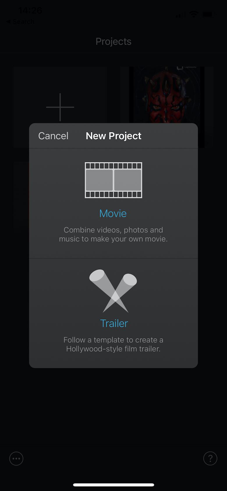 Screenshot of iMovie create project screen