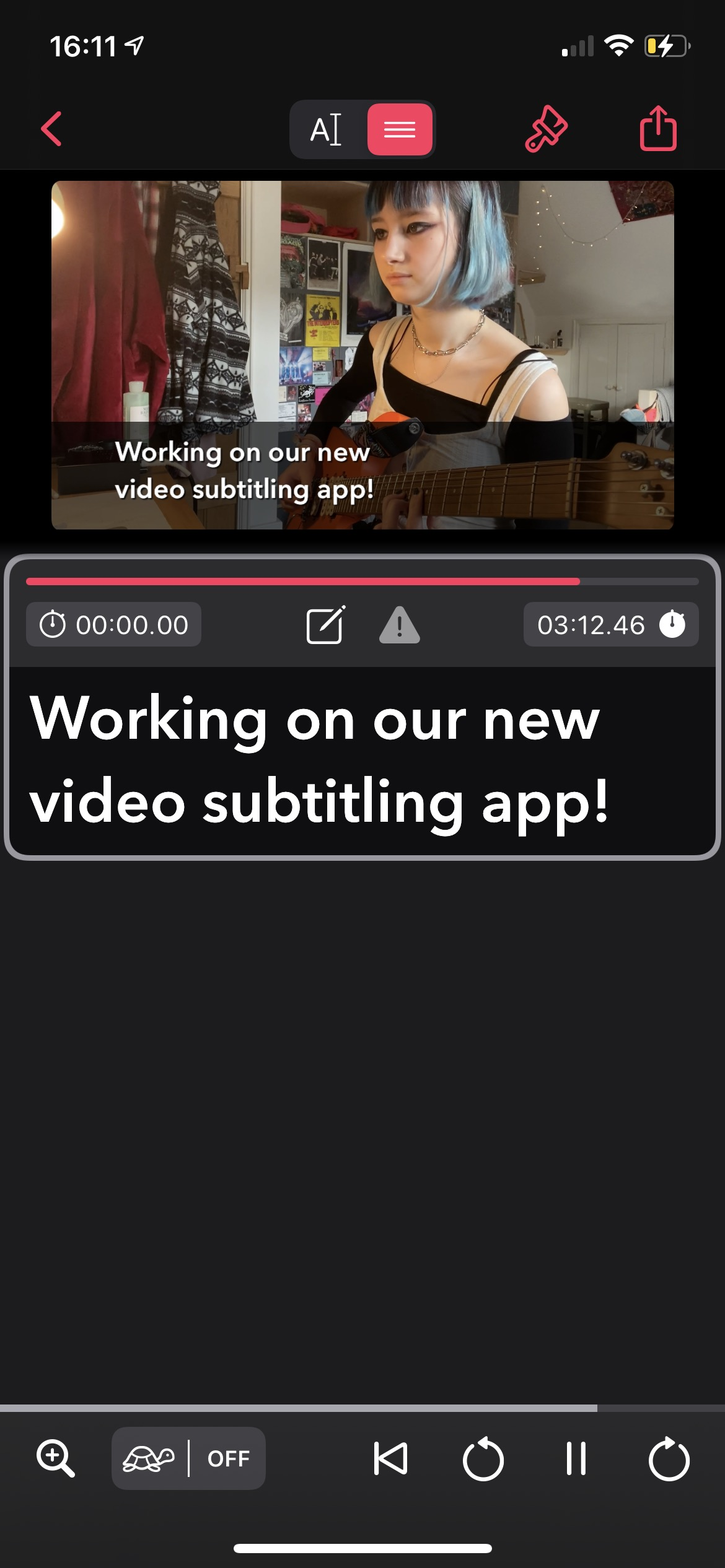 Screenshot of a the new timing UI showing a video with a subtitle