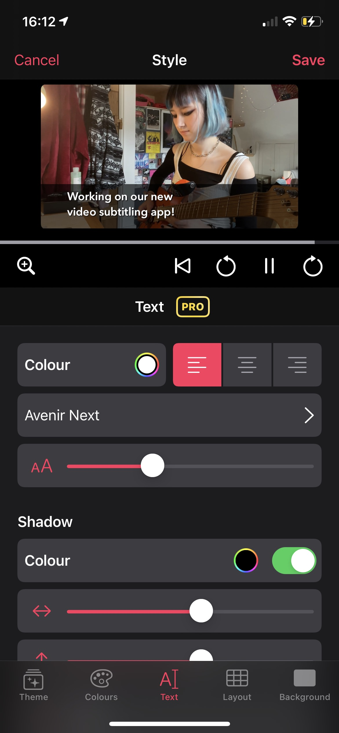 Screenshot of a the new styling UI showing a video and the subtitle text formatting options
