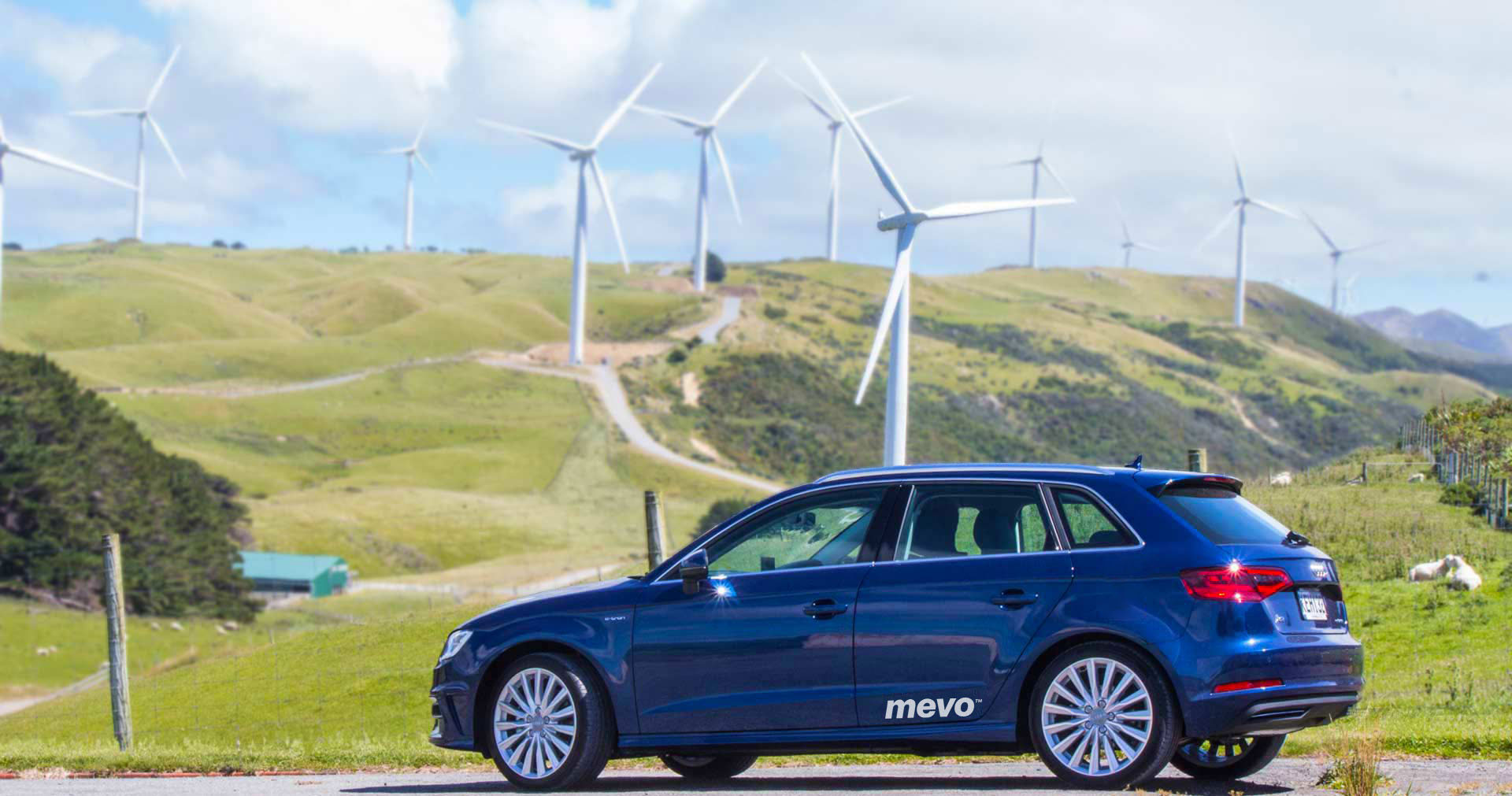 Audi A3 e-tron parked at Meridian Energy's West Wind farm