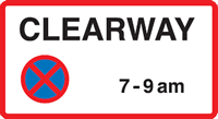 Clearway Parking Sign