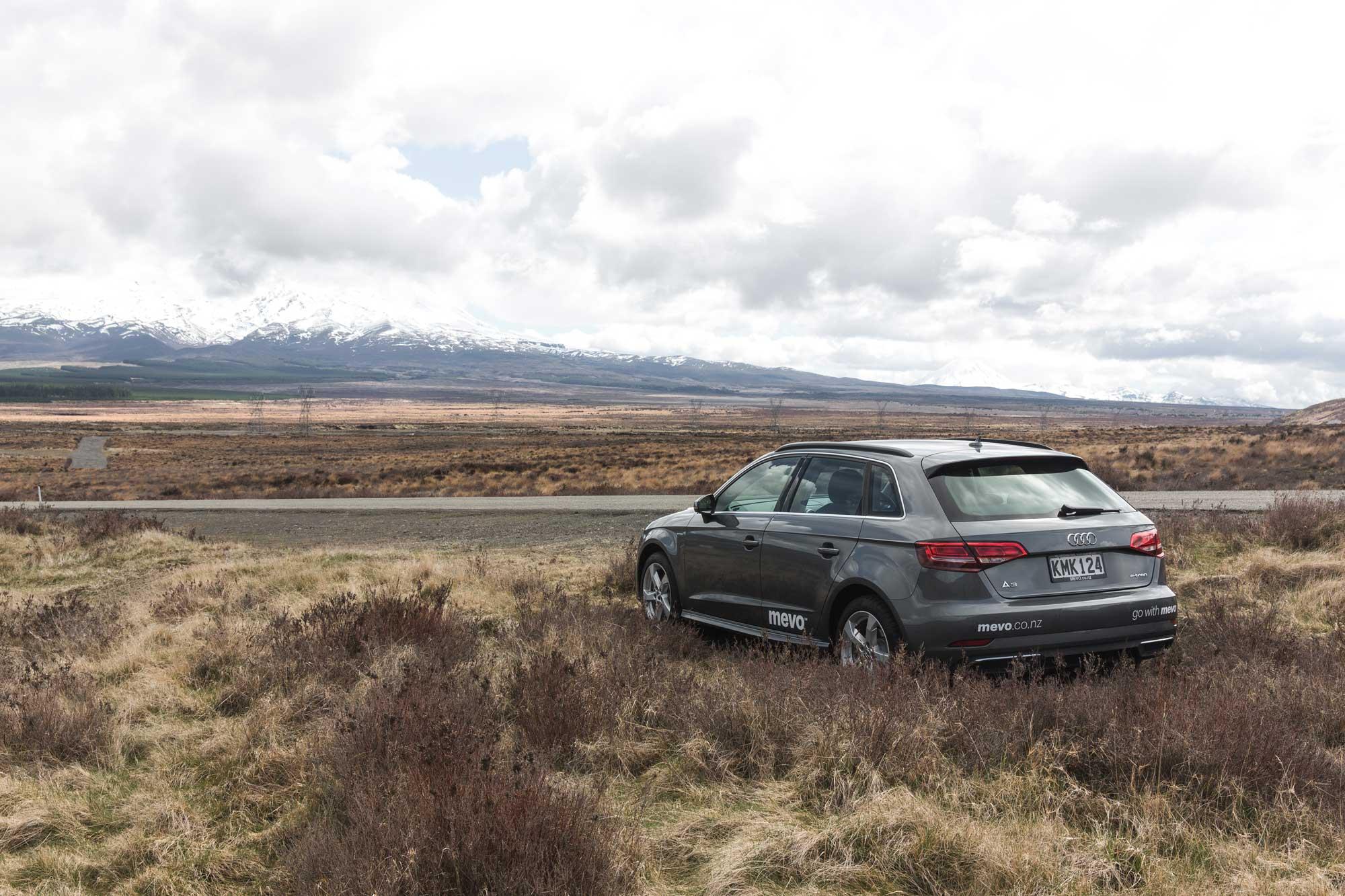 Audi A3 e-tron parked near the desert road