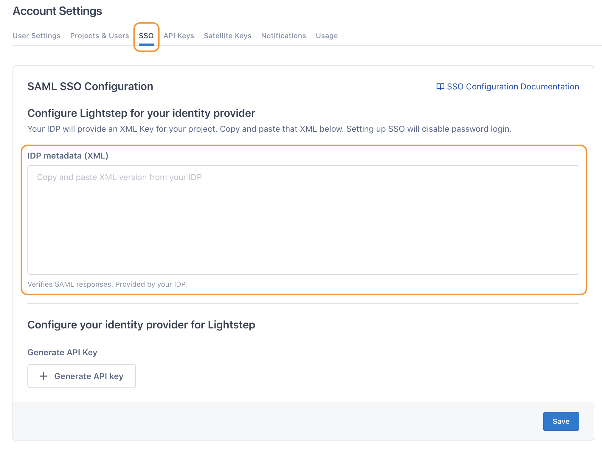 SSO configuration in Lightstep