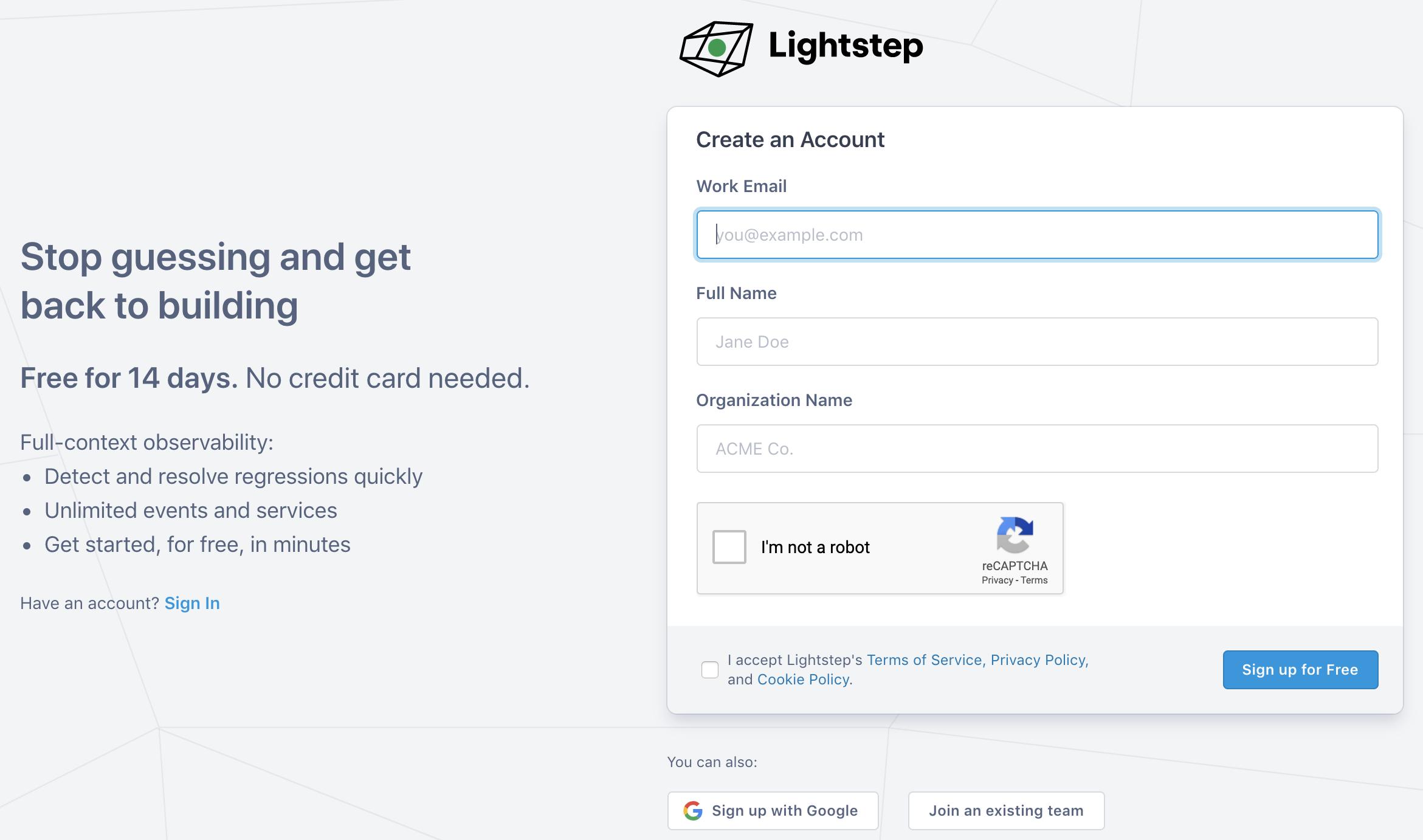 Lightstep sign up form