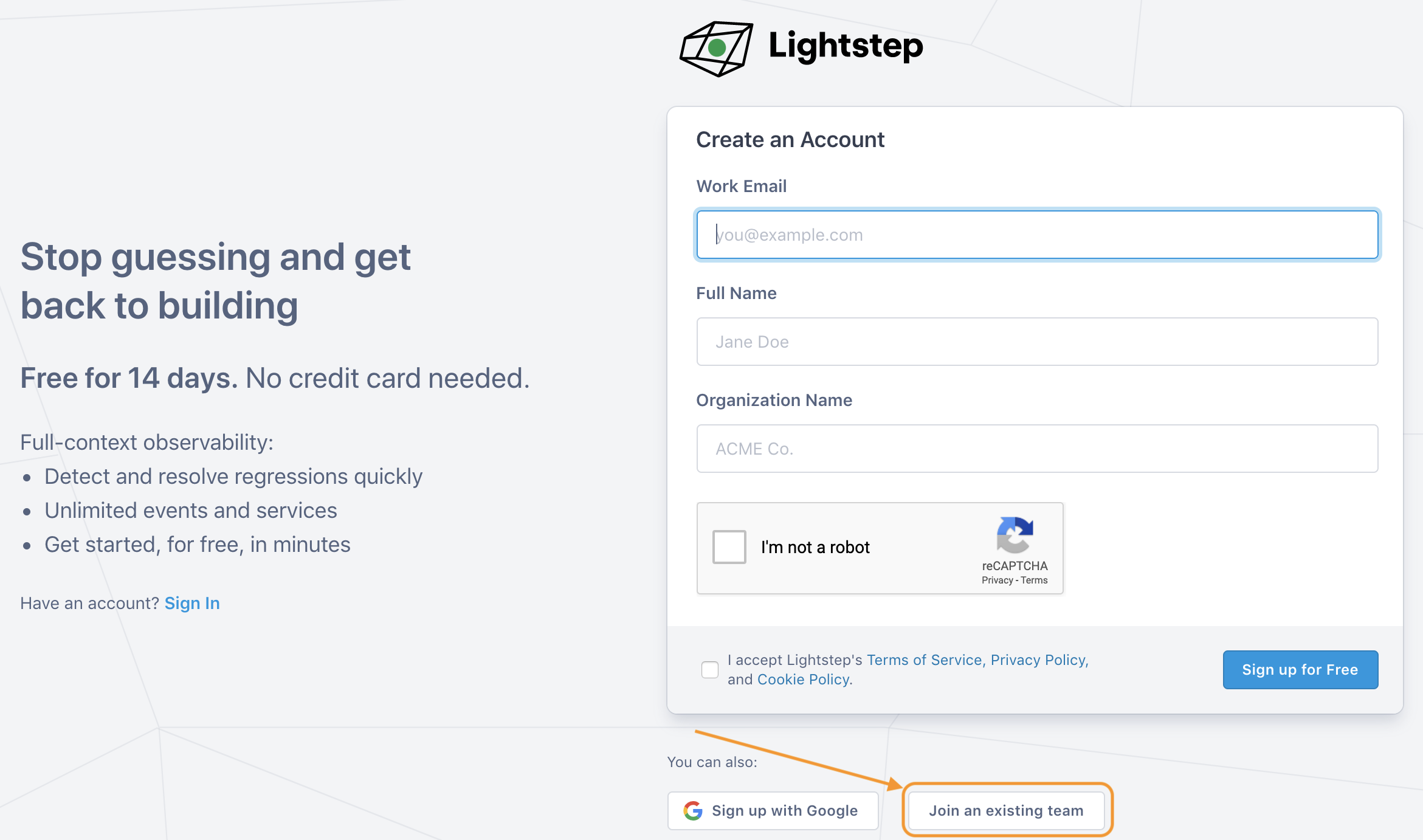 Lightstep signup form