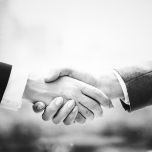 A handshake between two individuals to show mutual trust and commitment.