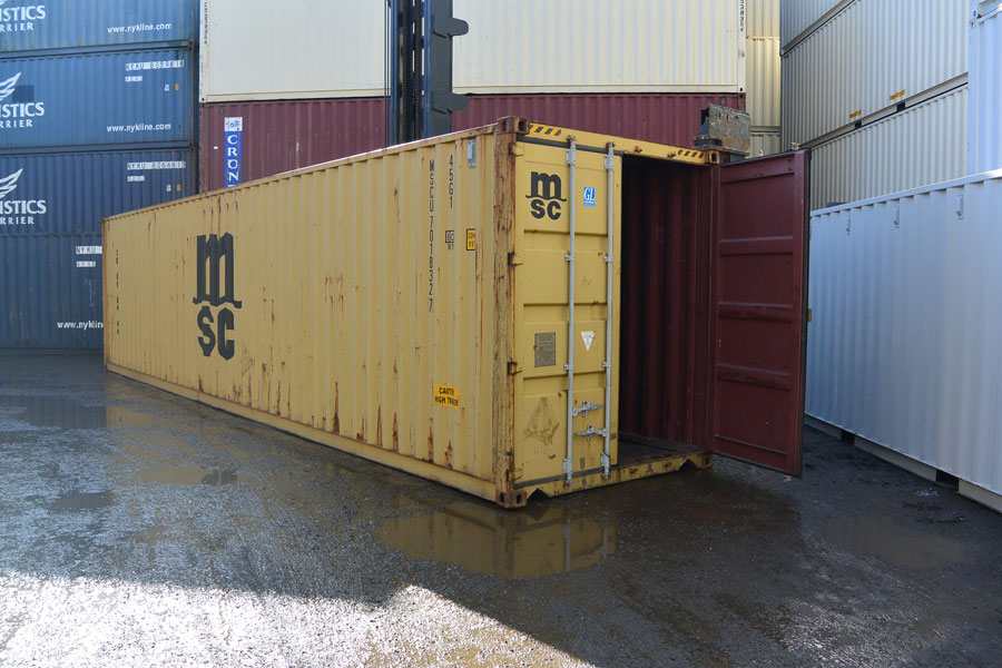 40' High Cube Cargo Worthy Container Yellow Open