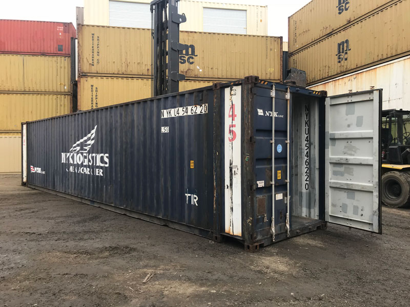 45' High Cube Wind and Water Tight Container Door Open