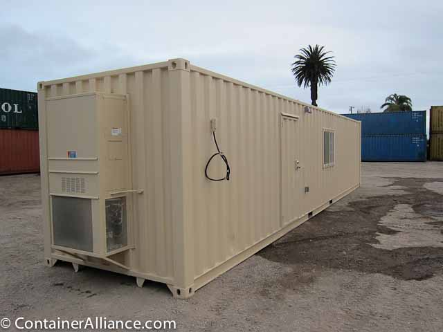 40' Office Storage Combo Container Back Side
