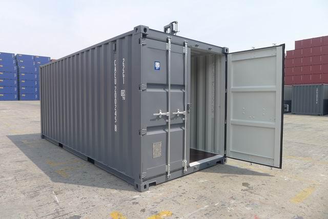 20' One Trip Container Door Open Gray