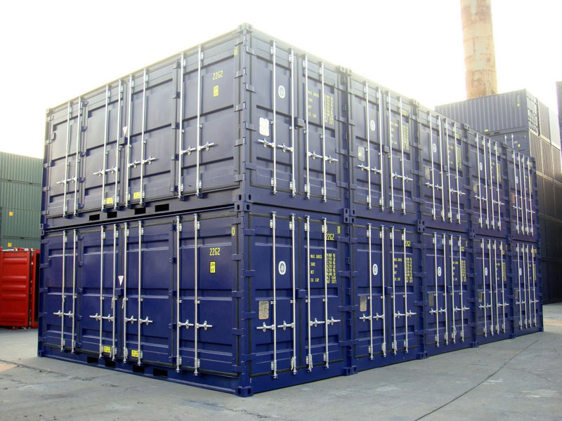 20' Open Side One Trip Container Stacked Blue